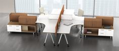 Fusion inspires employees and energizes the office with freestanding, user adjustable tables and storage.