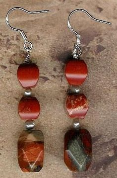 Earrings  Spiderweb Agate Red River Jasper by ChicStatements, $22.00