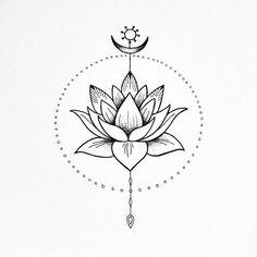 The Lotus flower. Peace and harmony illustration. The Lotus flower. Peace and harmony illustration. The Lotus flower. Peace and Unalome Tattoo, Dotwork Tattoo Mandala, Lotus Tattoo Design, Flower Tattoo Designs, Lotus Design, Mini Tattoos, Cute Tattoos, Body Art Tattoos, Tatoos