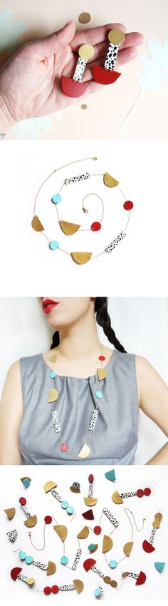 Moons & Spots Collection - Geometric Jewelry, from Reclaimed Leather Scandinazn #pattern #upcycled #vancouver #sustainable #jewelry #geometric