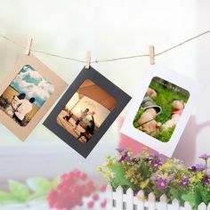 10 Pcs DIY Wall Photo Frame, inch Hanging Wall Photos, Picture Album made with Kraft Paper With Clips and Rope, Wedding Decoration Paper Photo Frame Diy, Paper Picture Frames, Picture Frame Crafts, Picture Albums, Paper Frames, Photo Picture Frames, Photo Wall, Nice Picture, Hanging Frames