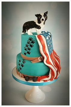 Dog dumbell amarican flag cake / hond halter amerikaanse vlag taart