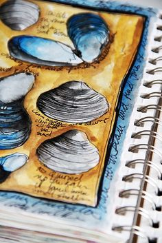 I love this page within a page idea, and the writing around the edge adds the the layout of this page. The neutral colours of the shells stand out against the bright background.