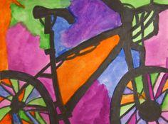 bicycle silouette, elementary art | 5th grade Bike Ride drawings