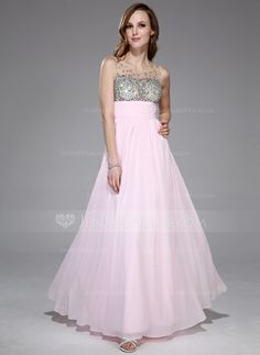 Prom Dresses - $149.99 - Empire Scoop Neck Floor-Length Chiffon Tulle Prom Dress With Ruffle Beading (018042713) http://jenjenhouse.com/Empire-Scoop-Neck-Floor-Length-Chiffon-Tulle-Prom-Dress-With-Ruffle-Beading-018042713-g42713