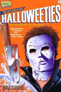 Cereal Killers Horror themed cereal box art by Joe Simko Halloweeties
