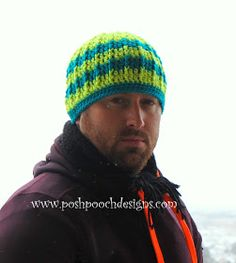 Posh Pooch Designs Dog Clothes: Reflective Front Post Beanie Free Crochet Pattern - love the pattern hate the colors! Crochet Men, Crochet Socks, Crochet Scarves, Diy Crochet, Crochet Clothes, Knitted Hats, Crochet Winter, Crochet Beanie Pattern, Crochet Patterns