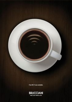 """Free Wi-Fi now available.  Brucciani Family Craft Bakers & Café"""