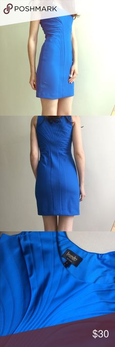 """Laundry by Shelli Segal Blue Mini Dress Bodycon dress by Laundry by Shelli Segal. Very flattering heavy material that hugs curves. Dont need Spanx!! Fully lined. I am 5'7"""" and 34b. Its a bit tight on my chest but the zipper closes. Nice stitching detail on the front. Laundry by Shelli Segal Dresses Mini"""