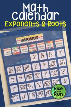I love this math classroom decoration! A Math Calendar is the perfect classroom decoration for any math class. This one features exponents and roots each day! Help students become familiar with solving exponent and root problems. Calendar Bulletin Boards, Math Bulletin Boards, High School Classroom, Future Classroom, Classroom Door, Classroom Organization, Math Classroom Decorations, Secondary Math, School Calendar