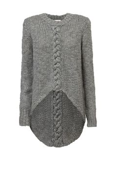 Uneven hem cable knit jumper in grey. By Sass & Bide.