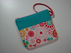 Zippered Clutch, Quilted Wristlet, Cell Phone Purse, Turquoise and Pink Floral , Quiltsy Handmade by VillageQuilts on Etsy