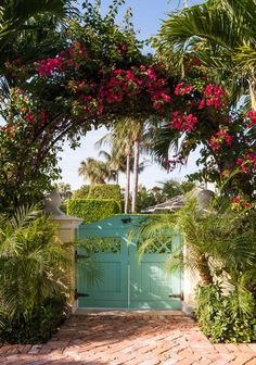 """""""We have the opportunity to play a small part in protecting and advancing the character and charm of the island. It is a responsibility we appreciate."""" I love this quote by Andrew Sciame–the presid… Palm Beach Decor, Beach House Decor, House Of Turquoise, Front Gates, Beach Bungalows, Florida Home, Florida Style, Winter House, Garden Gates"""