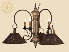Timberline w Three Arms and Pierced Shades   Island Lights   Katie s Colonial  Lighting  Primitive Light Fixtures Made in the USA8 arm Newton Wooden Primitive Chandelier Light   Country Colonial  . Primitive Colonial Light Fixtures. Home Design Ideas
