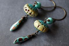 Rustic Disc Earrings  Turquoise and Yellow by BeadSoupJewelry, $29.00
