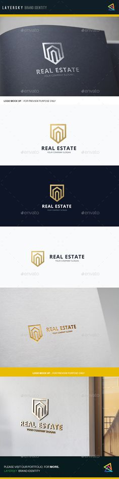 Real Estate by LayerSky Logo Template Scalable Vector Files Everything is editable Everything is resizable Easy to edit color / text Free fon Logo Design Template, Brochure Template, Logo Templates, Flyer Template, Real Estate Logo Design, Real Estate Branding, Corporate Design, Branding Design, Logo Branding