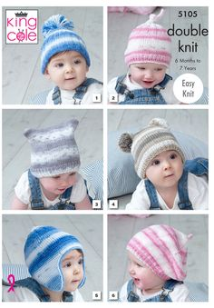 King Cole 5105 Hats in Cottonsoft Baby Crush DK (leaflet)Kingcole 5105 Hats Knitting Pattern - - Not The Finished GarmentsBuy from our latest range of baby knitting patterns. Deramores stocks an unrivalled selection of easy knitting patterns for boys Easy Knit Hat, Knitted Hats Kids, Kids Beanies, Kids Hats, Knitting Wool, Baby Knitting, Free Knitting, Knitting Stiches, Double Knitting Patterns
