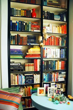 This post has terrific tips for making readymade bookcases look like built ins.