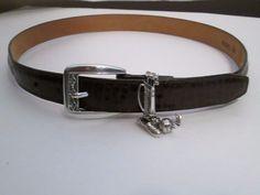 Brighton Belt # C3008. Golf Silver Charms, M-30 Brown Leather Belt-$10.00 #Brighton