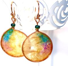 Hand painted Rice Paper and Copper Artisan Earrings by CherieLongDesigns on Etsy
