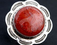 Beautiful Utah Red Horn Coral Argentium Sterling Silver Ring Handmade NEW - Colorful Cabochon and Beautiful Floral Shank