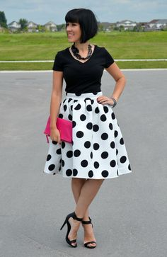 Polka Dot Midi Skirt, Midi Skirt, Dress, Sheinside, joe fresh tee, polka dot skirt, high heels, black sandles, black tee