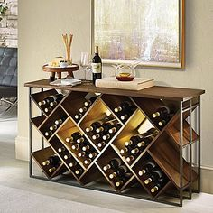 Buy the Laiton Wood And Iron Wine Console at Wine Enthusiast – we are your ultimate destination for wine storage, wine accessories, gifts and more! Wine Storage Cabinets, Wine Rack Storage, Wine Rack Wall, Kitchen Wine Racks, Wine Bottle Storage Ideas, Diy Wine Racks, Wine Wall Decor, Wine Rack Cabinet, Built In Wine Rack