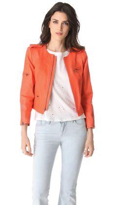 Alice + Olivia Leather Moto Jacket in Orange