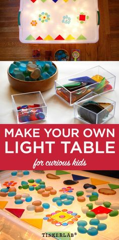 How to make your own (easy) diy light table for curious and creative kids. How to make your own (easy) diy light table for curious and creative kids. Light Table For Kids, Diy Light Table, Kids Art Table, Kids Activity Tables, Diy Table, Diy For Kids, Crafts For Kids, Diy Crafts, Iphone S6 Plus