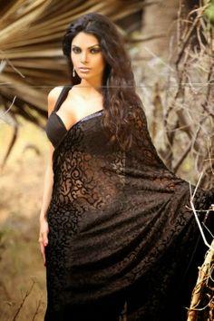 Sizzling cleavage show in Black saree - SHERLYN CHOPRA -
