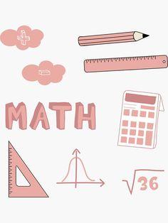 'Peach Math School Subject Sticker Pack' Sticker by The-Goods Bullet Journal Banner, Bullet Journal School, Bullet Journal Ideas Pages, Tumblr Stickers, Diy Stickers, Printable Stickers, Journal Stickers, Planner Stickers, School Binder Covers