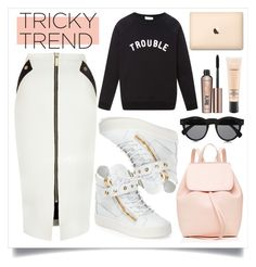 """Tricky Trend: Pencil Skirts and Sneakers"" by alaria ❤ liked on Polyvore featuring River Island, Giuseppe Zanotti, Illesteva, Sea, New York, MAC Cosmetics, Benefit, Mansur Gavriel, pencilskirt and pencilskirtandsneakers"