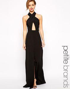 Image 1 ofJarlo Petite Wrap Halterneck Maxi Dress