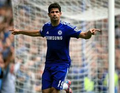 Exits this way goal celebration from new Chelsea striker Diego Costa v Aston Villa ( 27/09/14 ).