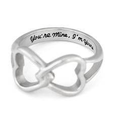 """Couples Ring Double Hearts Infinity Ring Promise Ring Wedding Ring This Infinity Ring presents two hearts connected with each other. Such a sweet design symbolizes special connection between two lovers. The Ring is engraved on inside with a touching message """"You're Mine, I'm Yours"""". #couples #ring #love #rings"""