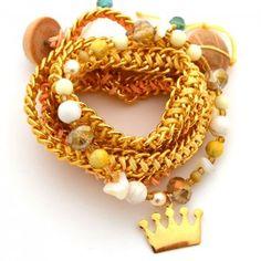 Pulsera Doble Cadena Amarillo | Dulce Encanto accesorios para mujer. Compra tus accesorios desde la comodidad de tu casa u oficina en www.dulceencanto.com #accesorios #accessories #aretes #earrings #collares #necklaces #pulseras #bracelets #bolsos #bags #bisuteria #jewelry #medellin #colombia #moda #fashion