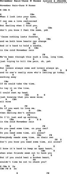 Love Song Lyrics for: November Rain-Guns N Roses with chords for Ukulele, Guitar Banjo etc.