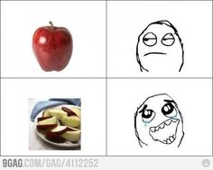 Apples in the eyes of kids.
