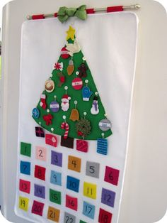 Love this idea. Countdown for Christmas. The kiddos take an ornament and hang it on the tree each day.