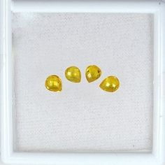 2.70 cts Natural AAA+ Top Yellow Sapphire Briolette Cut Pear Ceylon Gemstone $