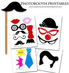 Party: PHOTO BOOTH PROPS Printables for Wedding, Party, Mustache Bash,... - Hats