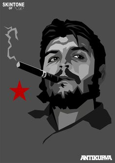 Ernesto Che Guevara (1928 Jun14 - 1967 Oct9, d. @39 of execution) • graphic art: poster portrait by Lynch De La Serna • Argentine Marxist humanist revolutionary in Cuban Revolution (later Algiers, Congo, Bolivia) + physician, author, guerrilla leader, diplomat, military theorist...symbol of ubiquitous countercultural