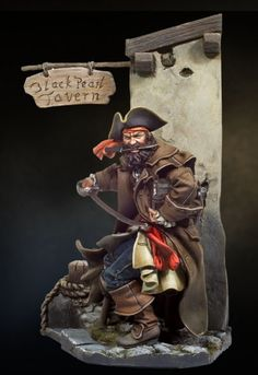 Port Royale 54 mm Pirates Of The Caribbean. Pirate Art, Pirate Life, Long John Silver, Tree Sculpture, Sculptures, Pirate Adventure, Modelos 3d, Jolly Roger, Fantasy Miniatures