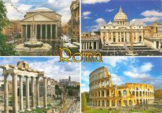 Pantheon, Roma; Basilica di San Pietro in Vaticano; Foro Romano, Roma; Colosseo, Roma