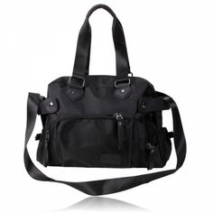 Casual Zipper Closure Bag This bag is made of canvas material can be used as a handbag, shoulder bag or a messenger bag. It carries 7 pockets and comes in black. Canvas Material, Messenger Bag, Closure, Zipper, Shoulder Bag, Handbags, Casual, Pockets, Black