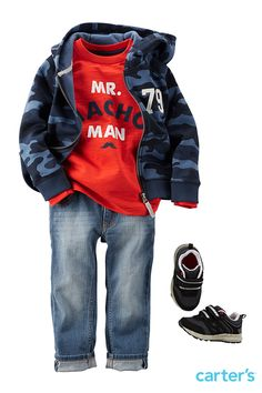 Medium-wash jeans are classic for back to school. Fun graphic tees and a fleece hoodie for later!