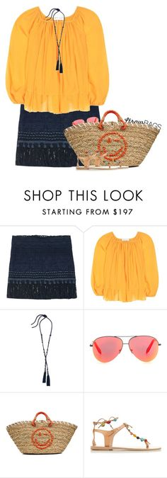 """""""Summer Straw"""" by hollowpoint-smile ❤ liked on Polyvore featuring Marysia Swim, Lanvin, Victoria Beckham, Anya Hindmarch and Ancient Greek Sandals"""