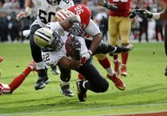 Saints vs. 49ers:  November 6, 2016  -  41-23, Saints  -     New Orleans Saints running back Mark Ingram carries the ball toward the goal line for a touchdown as San Francisco 49ers defensive end Ronald Blair (98) hangs on during the first half of an NFL football game, Sunday, Nov. 6, 2016, in Santa Clara, Calif.