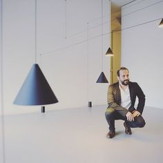 Michael Anastassiades with an installation of his String Cone Pendant Light. #michaelanastssiades #flos #cone #pendant #lighting #design #interiordesign #lightingdesign #londondesign #london #royalcollegeaullumni #thelollipopshoppe #tlshoppe #designstore