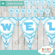 Printable blue chevron star wars themed personalized baby shower pennant banner decoration, Welcome Baby Boy. #babyprintables